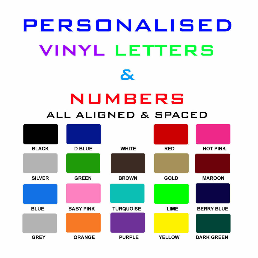 Vinyl lettering shops cars vans letters pre spaced self for Self adhesive letters for walls