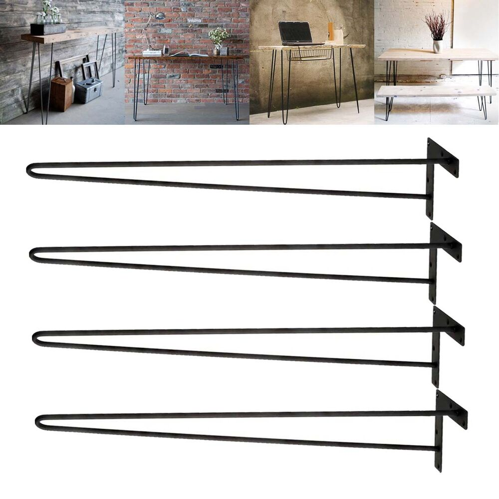 28 inch hairpin table legs diy modern solid iron dining table desk set of 4 ebay. Black Bedroom Furniture Sets. Home Design Ideas