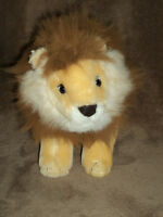 Lion, 12 inches Tan with white and brown fur. Vintage from 90's, plush toy