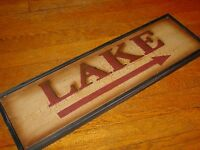 LAKE ARROW Rustic Crackle Finish Wood Framed Fishing Cabin Wall Decor Sign NEW