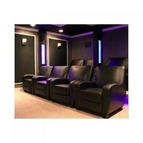 Home Theater Recliner Black Faux Leather Club Chair Lounge