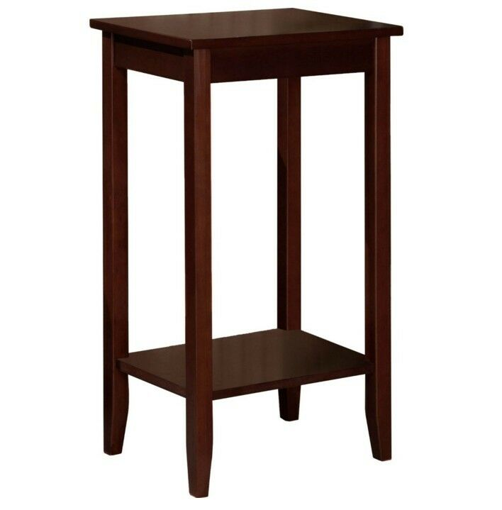 Small tall table high top portable brown wood furniture for Small tall end table