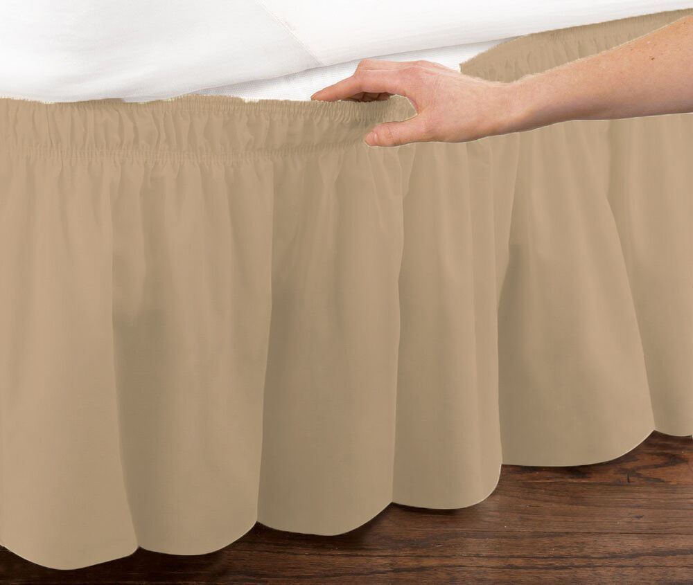 king size bed skirt mocha elastic ruffled bed skirt wrap around easy fit 29403