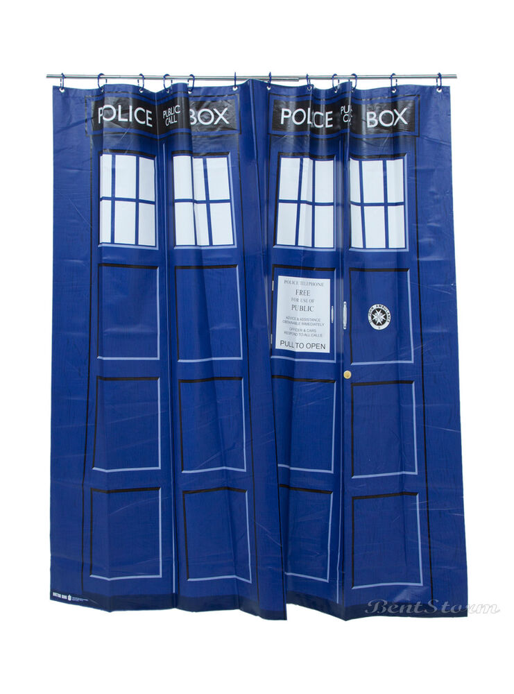 BBC DOCTOR DR WHO BLUE VINYL TARDIS BATHROOM SHOWER