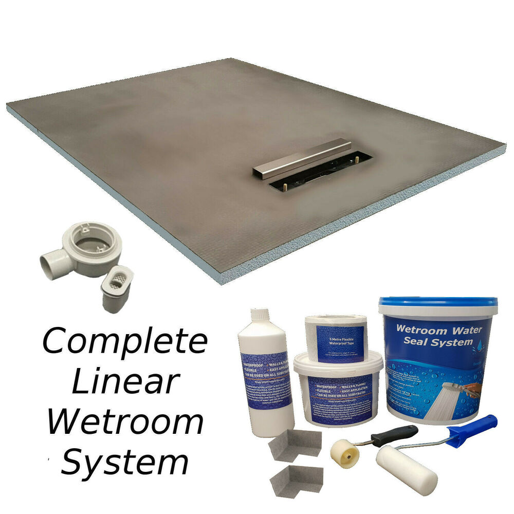 wet room kit wetroom linear drain various sizes walk in. Black Bedroom Furniture Sets. Home Design Ideas