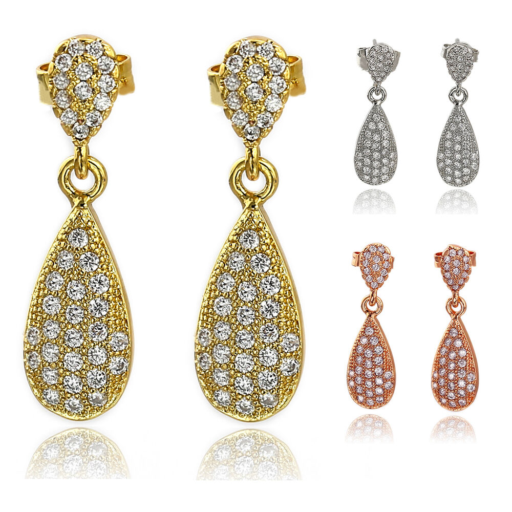 Innovative Diamond Yellow Gold Sterling Silver Drop Earrings Women Jewelry  EBay