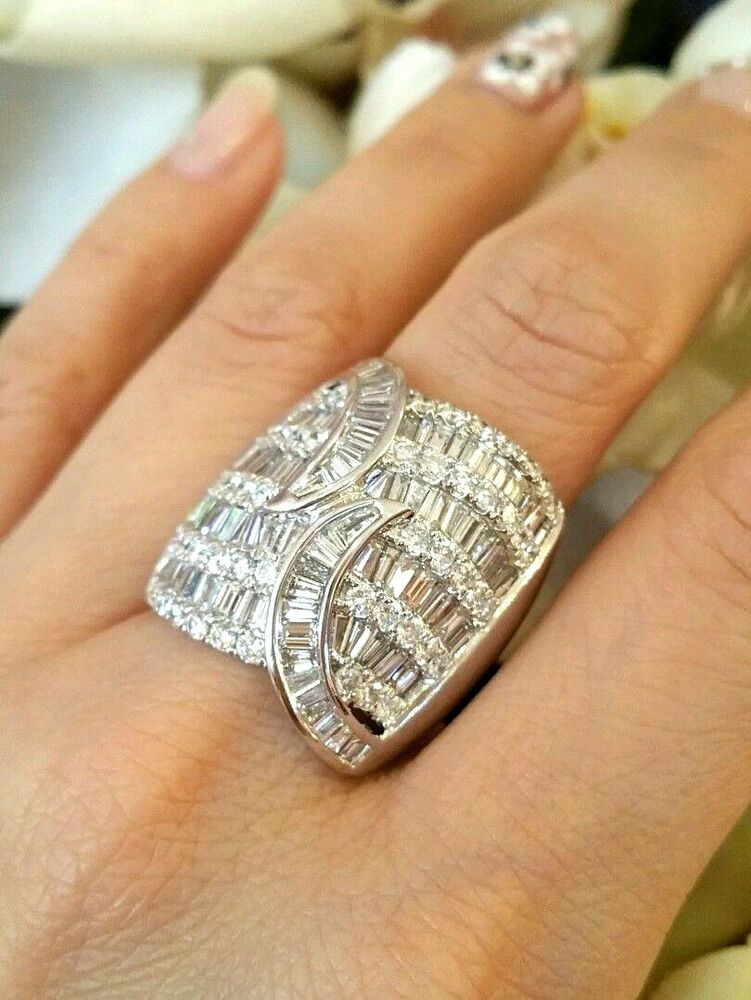 Wide Domed Baguette And Round Diamond Ring Tw 5 00 Ct In