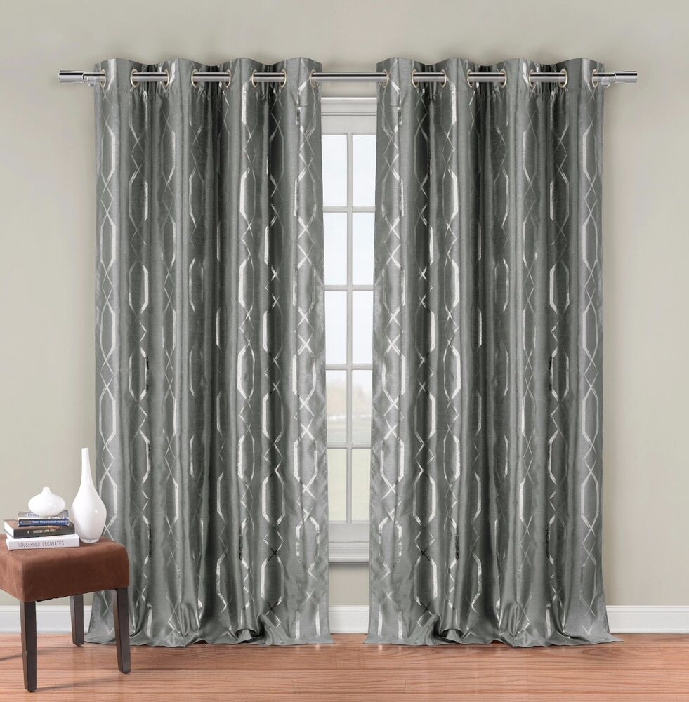 Two silver gray faux silk grommet window curtain panels for Grommet curtains