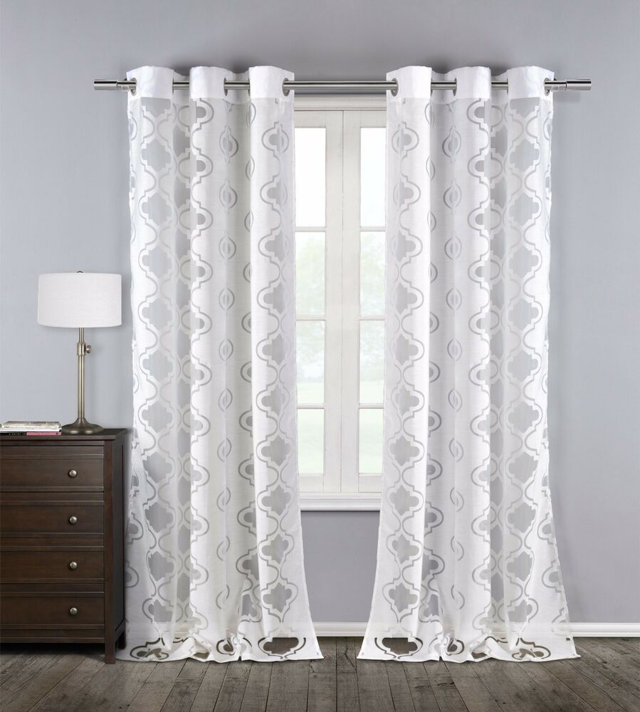 Two 2 White Sheer Window Curtain Panels Cotton Blend