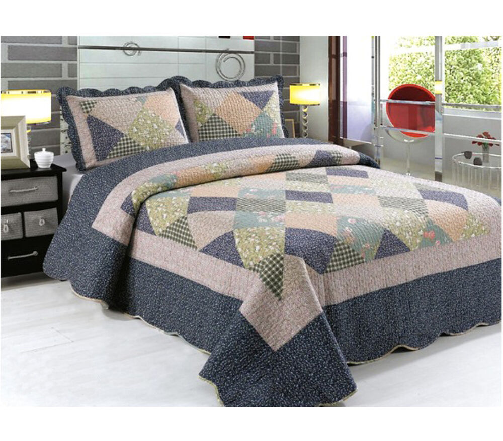 Patchwork Quilted Comfy Bedspread Bedding Set Embroidered