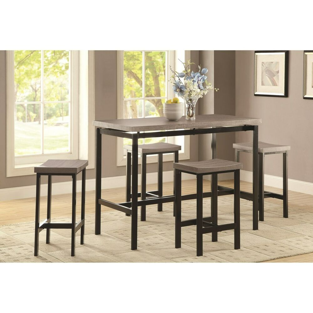 weathered oak 5 piece counter height dining set black base by coaster