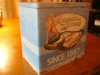 NAUTICAL MERMAID OYSTERS KITCHEN CANISTER Seafood Restaurant Storage Tin Decor
