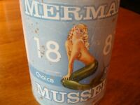 NAUTICAL MERMAID MUSSELS KITCHEN CANISTER Seafood Restaurant Storage Tin Decor
