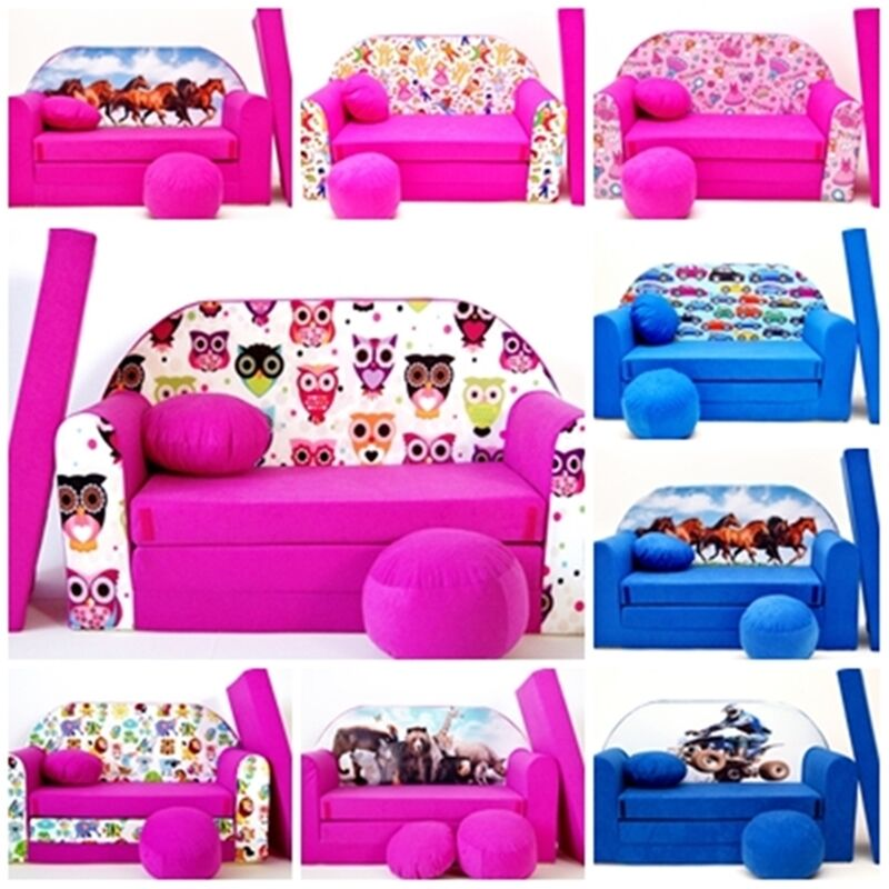 Kids sofa bed 168cm futon childs furniture free pouffe for Sofa bed kids room