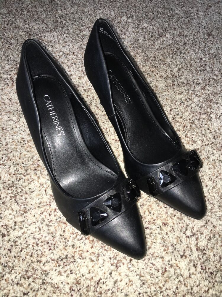 catherines shoes black poise heel pumps 11w size 11 wide