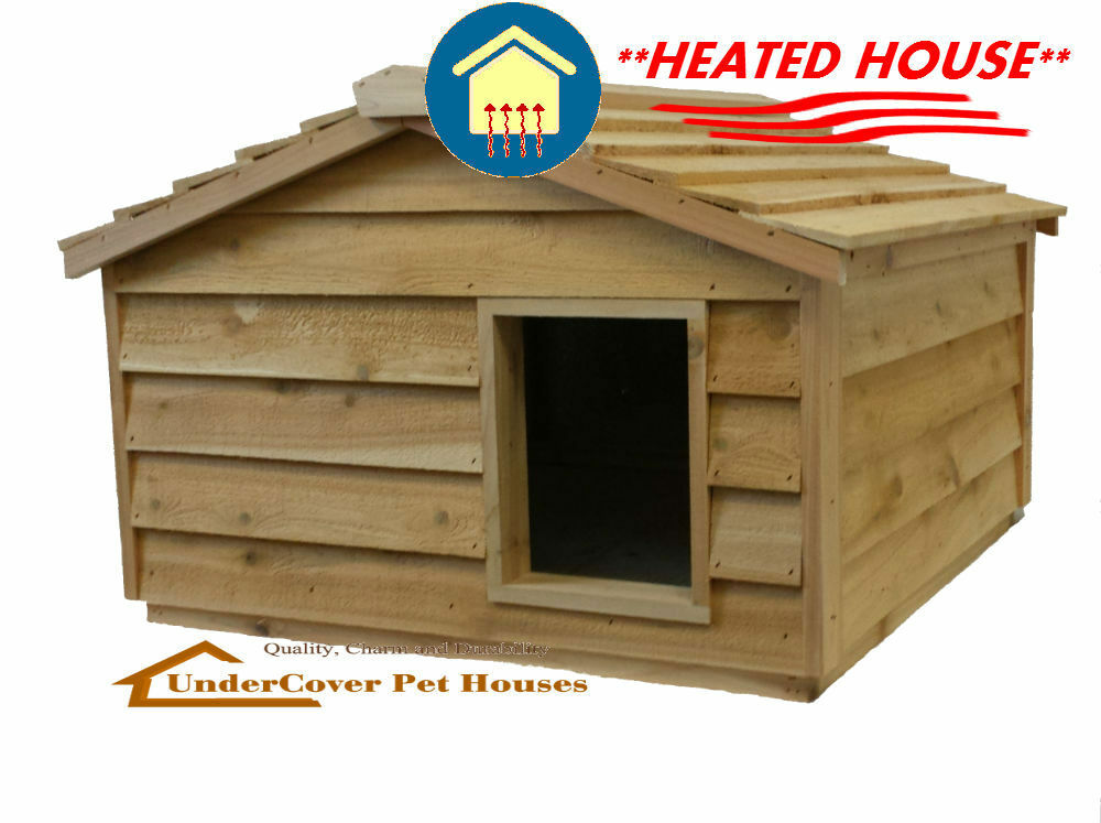Heated extra large insulated cedar outdoor cat housesmall for Insulated heated dog house