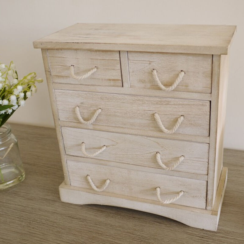 small wood storage cabinets small shabby chic wood 5 drawer storage cabinet jewellery 26421