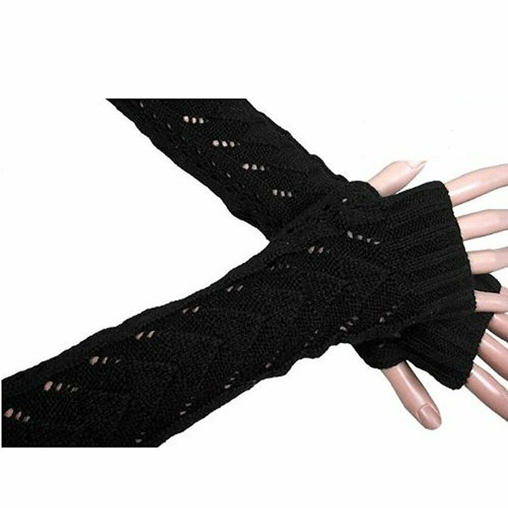 Fashion Womens Gloves Arm Warmer Long Fingerless Knitted -5198