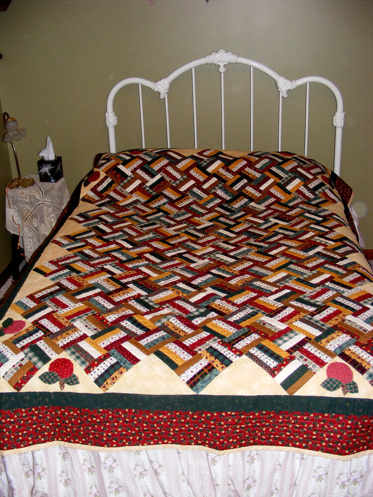 Handmade Baskets In Pa : Authentic amish quot basket weave strips appliqued apples