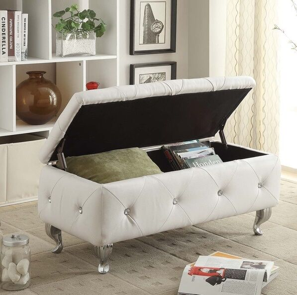 Leather ottoman tufted storage bench upholstered living room furniture seat new ebay Living room benches