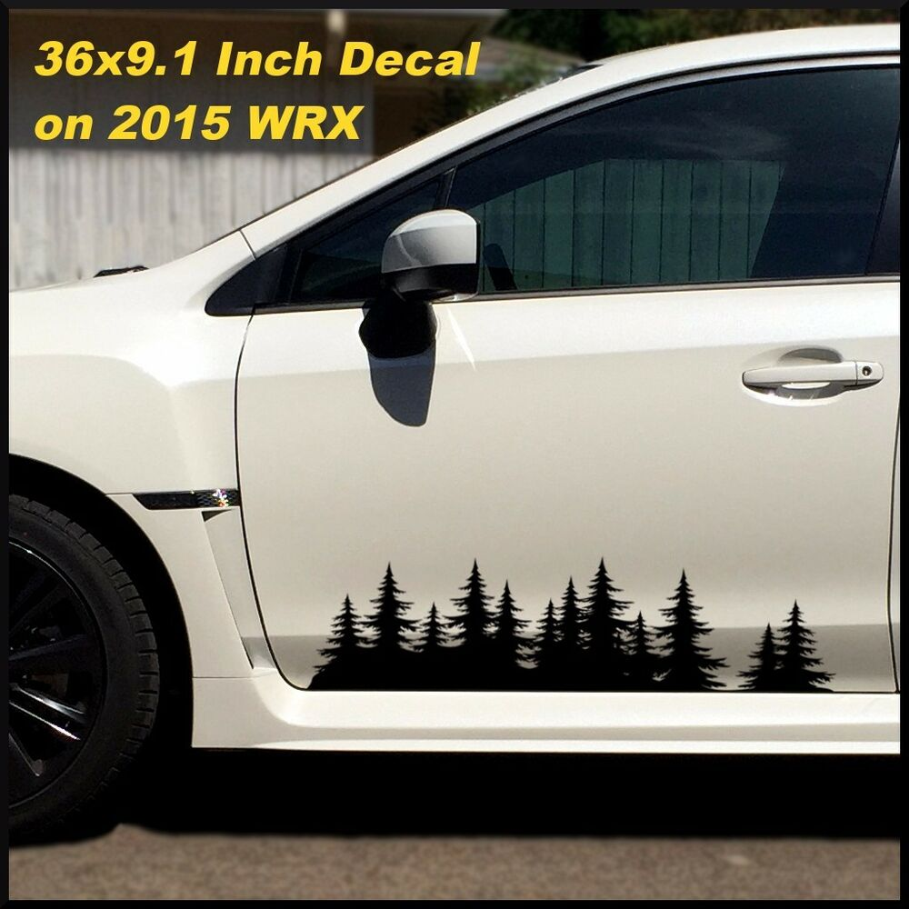 Details about vinyl tree forest graphic set custom door stickers car truck rv woods decal jdm