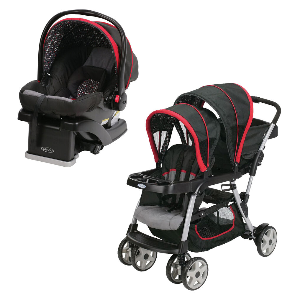 graco click connect double seated stroller and car seat travel system marco ebay. Black Bedroom Furniture Sets. Home Design Ideas