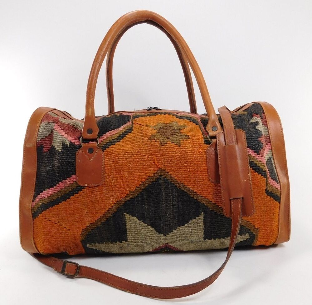 Vintage Carpet Duffle Overnight Tote Bag Leather Southwest