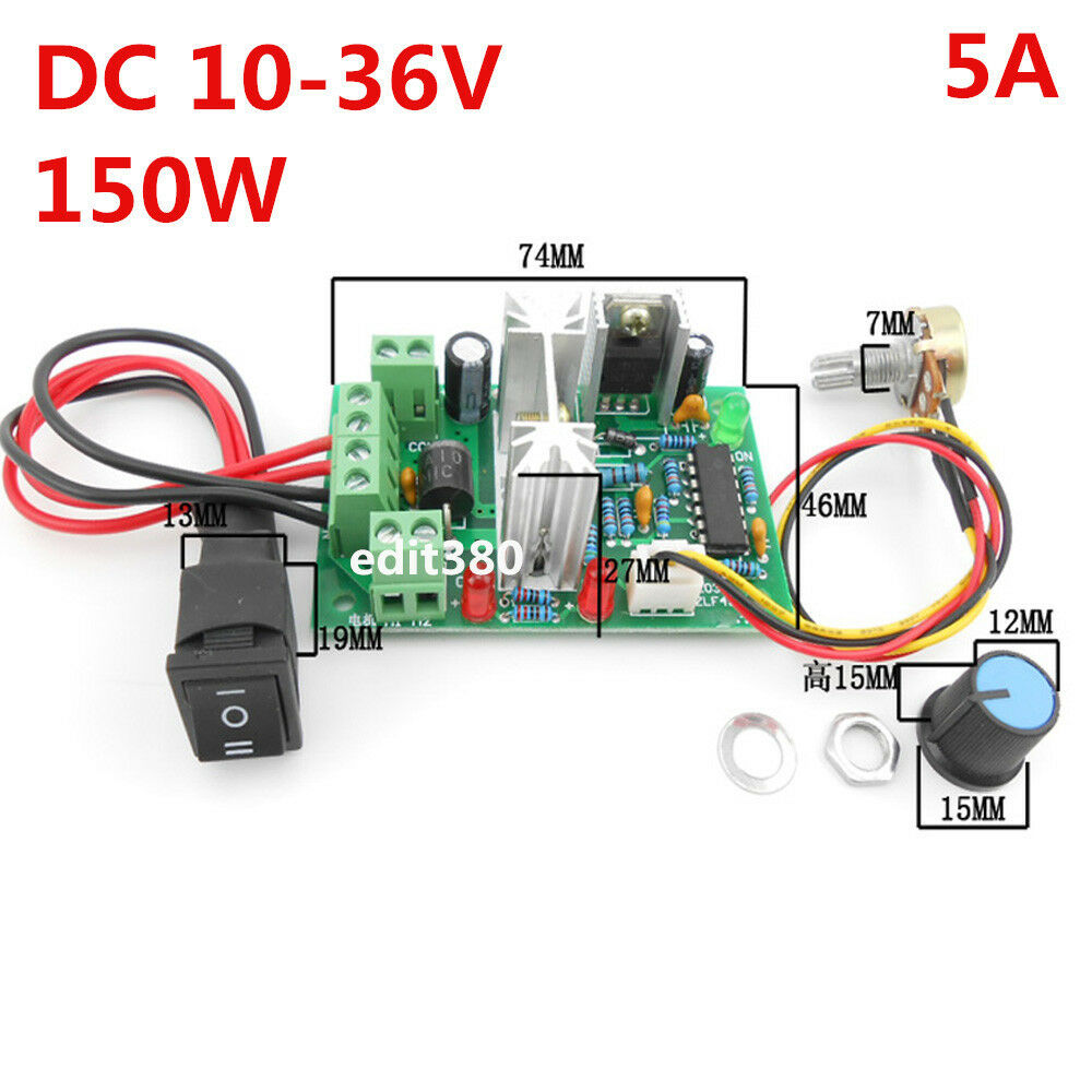 5a 12v 24v Dc Motor Variable Speed Controller Reversible