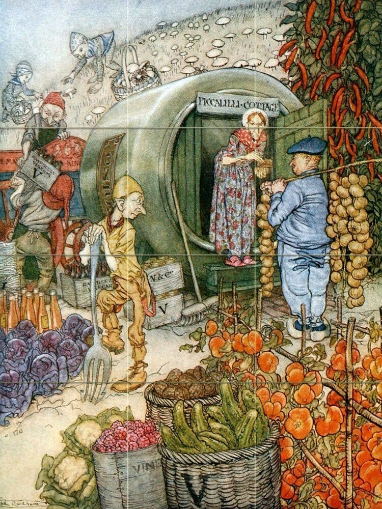 Vegetables fairy tales tile mural kitchen bathroom for Fairy tale mural
