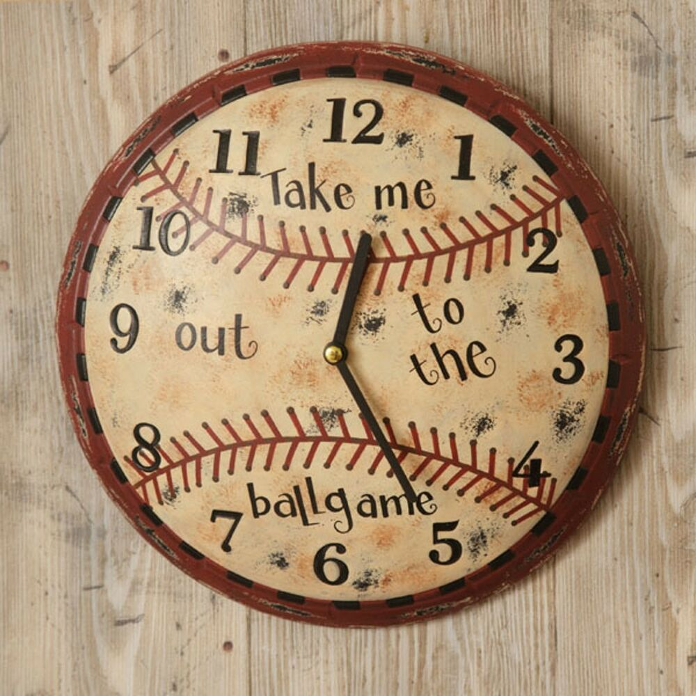 Primitive Baseball Wall Clock Man Cave Game Room Boys