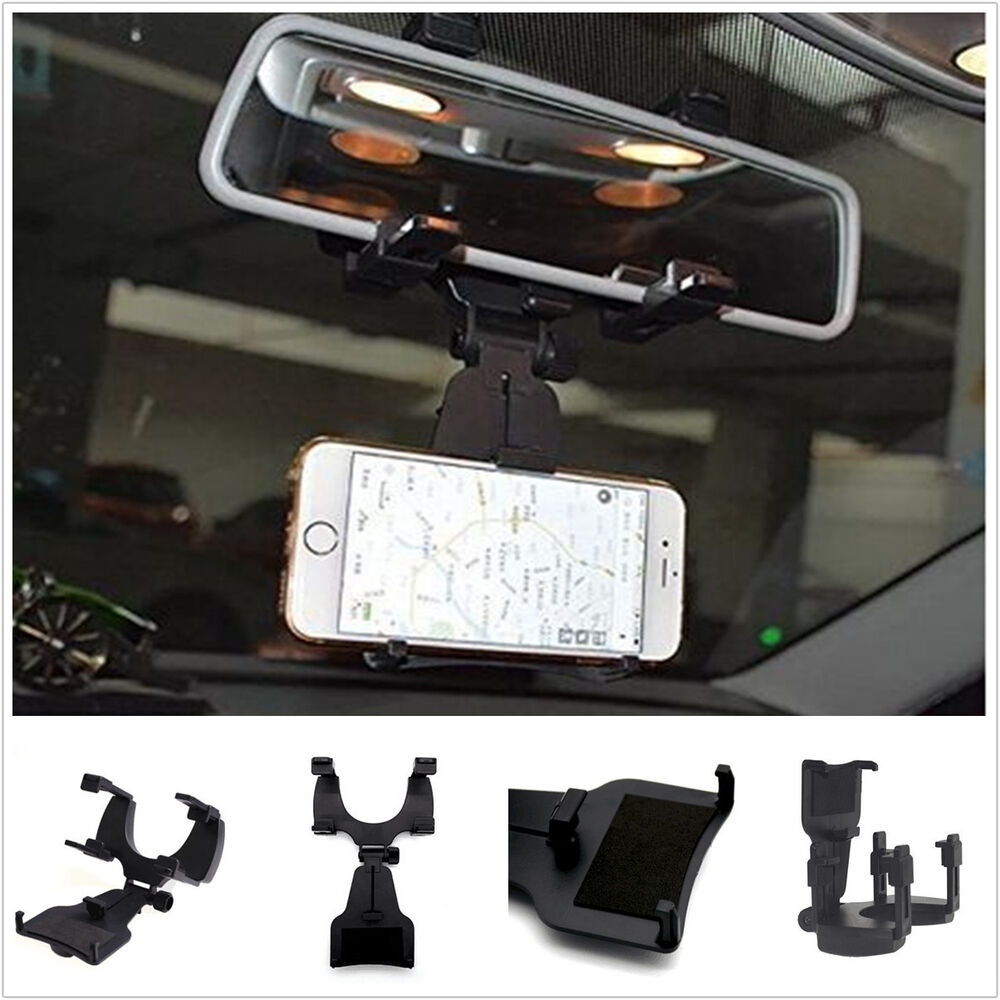 Car rearview mirror smartphone cell phone mechanical clamp for Mirror your phone