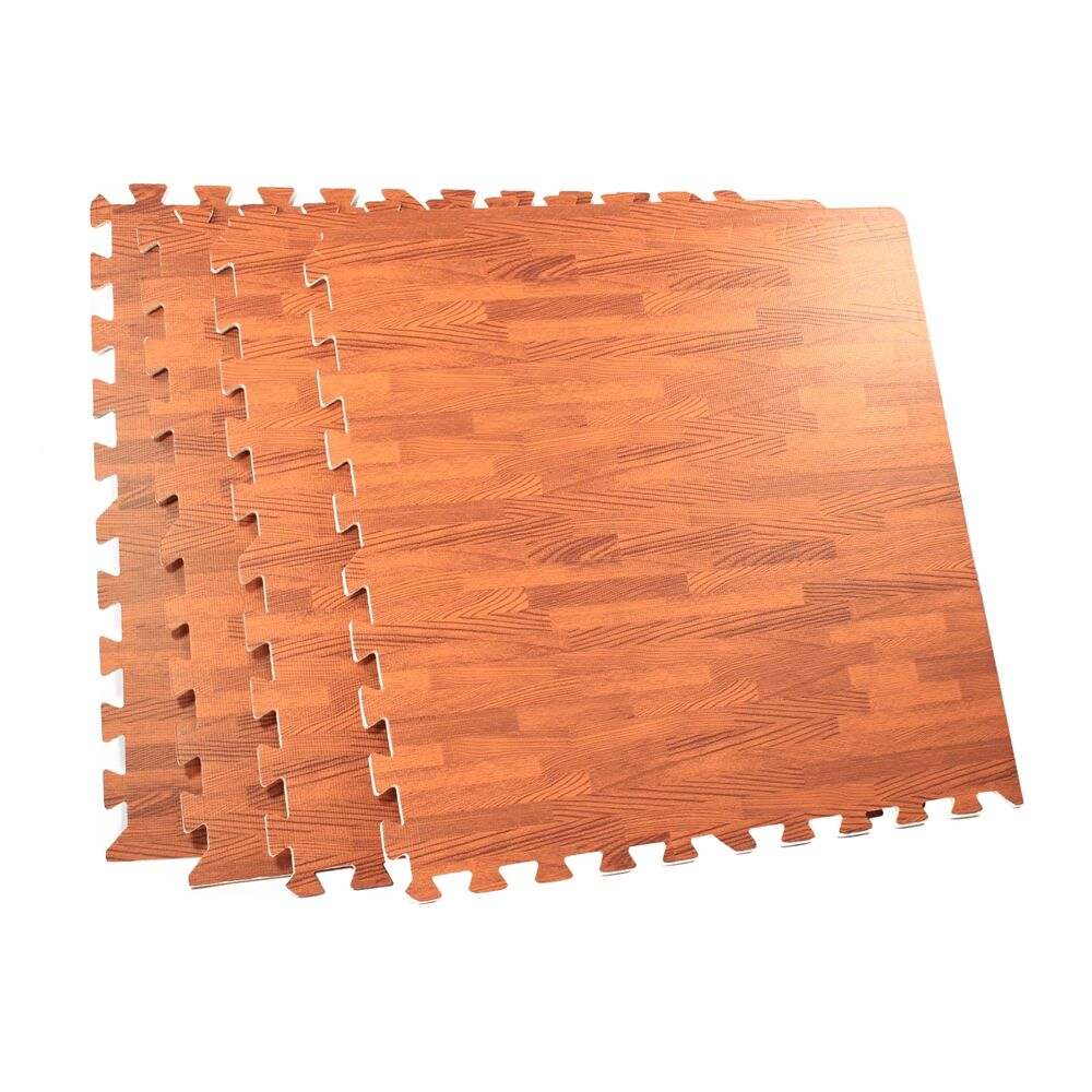 64 square foot interlocking foam wood grain puzzle mat