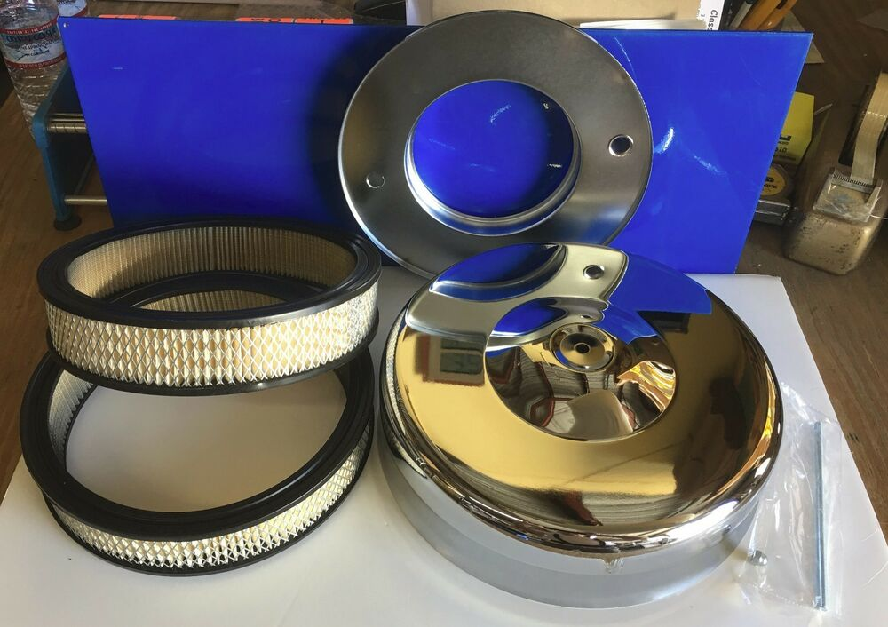 Four Bbl Carb Air Cleaners : Two filters mushroom chrome air cleaner new for barrel