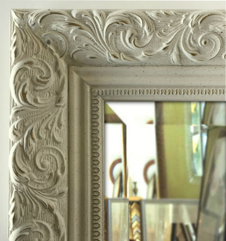 West frames bella ornate embossed antique white gold for Large white mirror
