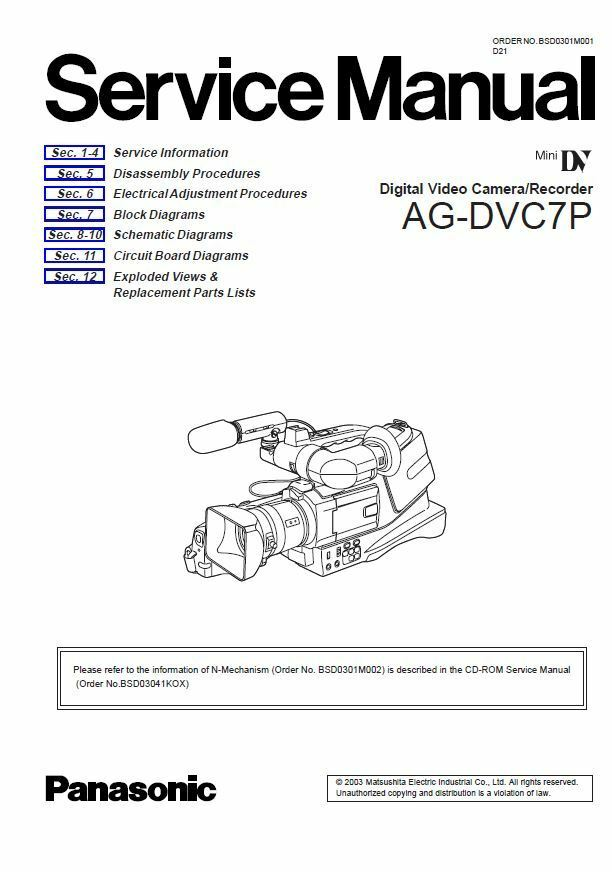 panasonic ag dvc7 dvc7p service manual repair guide ebay rh ebay com Operators Manual Service Manuals