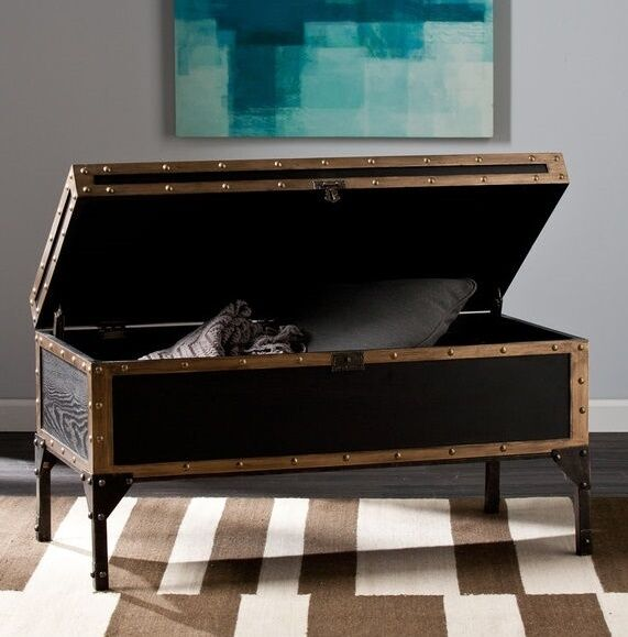 trunk coffee table vintage industrial storage living room furniture rustic chest ebay. Black Bedroom Furniture Sets. Home Design Ideas