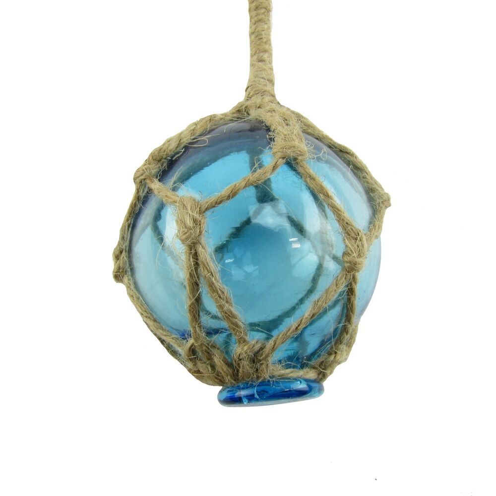 Blue Nautical String Lights : Nautical Rope Fishing Buoy Light Blue Glass Float Fish Net Ball Tiki/Luau Decor eBay
