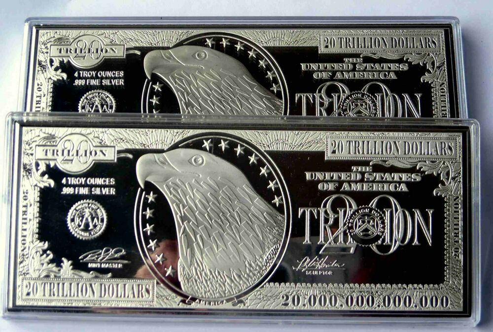 2 X 20 Trillion Proof 4oz Silver Currency Bars In Air