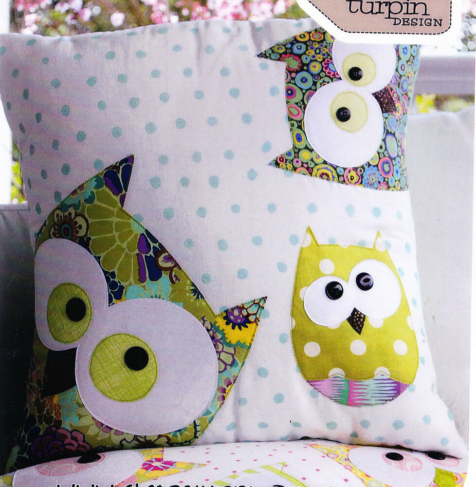 PATTERN - Family of Owls - cute applique pillow PATTERN - Claire Turpin eBay