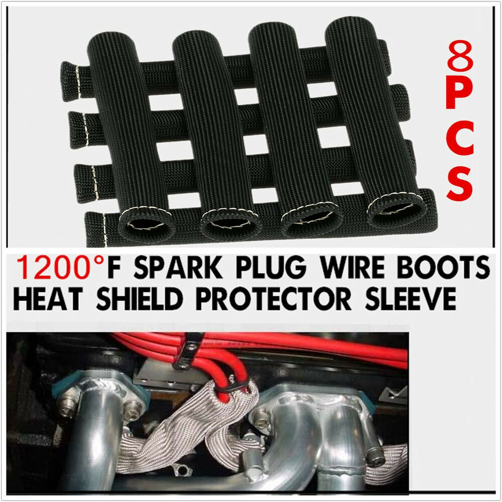 Cable Protection From Heat : Pcs black spark plug wire boot heat shield protector