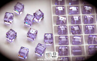 #5601 8mm Violet Swarovski Crystal Faceted Cube Square Beads (6) Purple