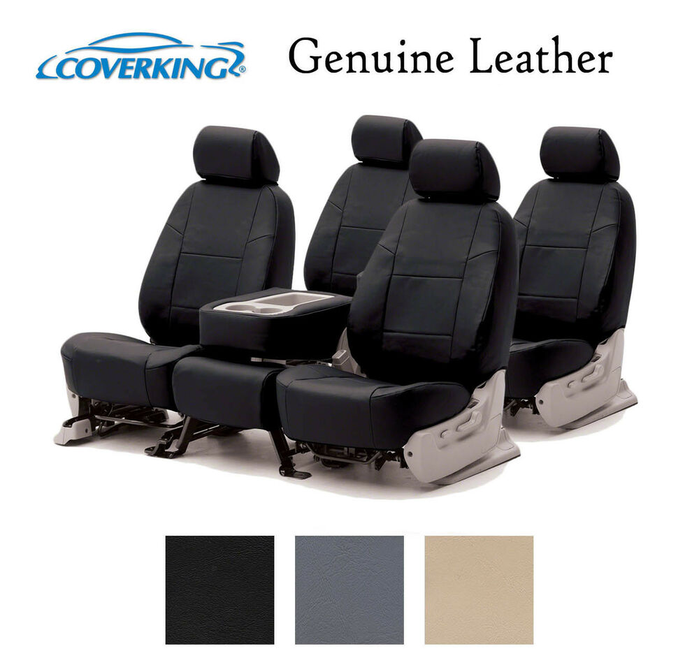 coverking custom seat covers genuine leather front and rear row 3 colors ebay. Black Bedroom Furniture Sets. Home Design Ideas