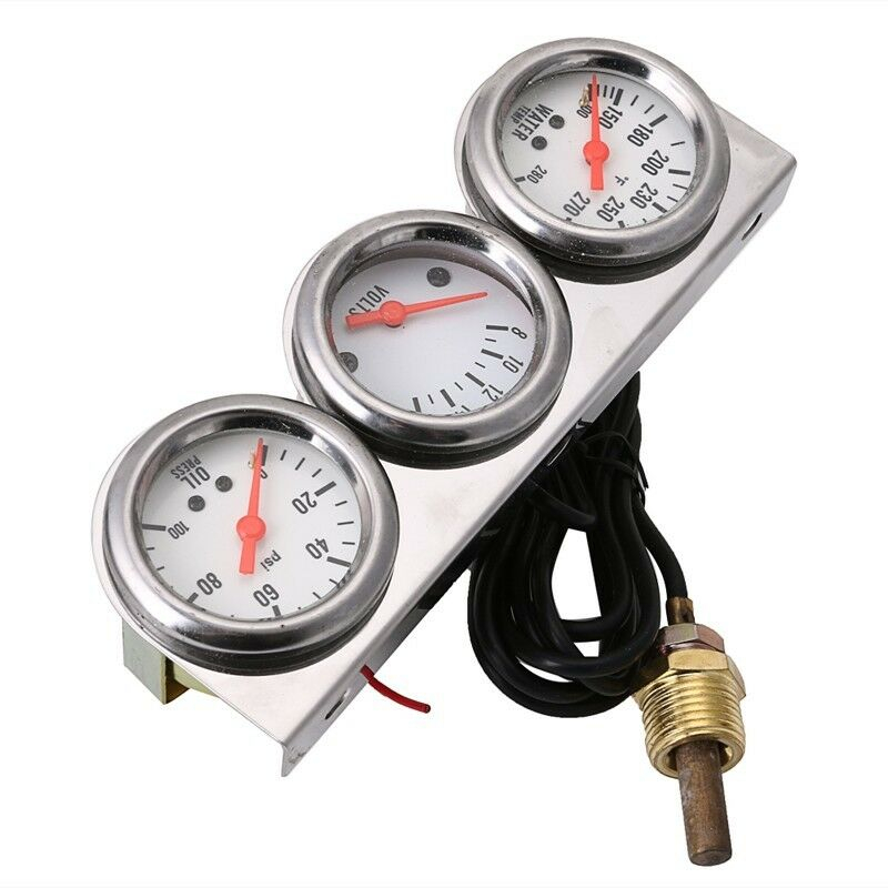Universal Auto Gauges : Universal oil pressure water voltage volt triple gauge