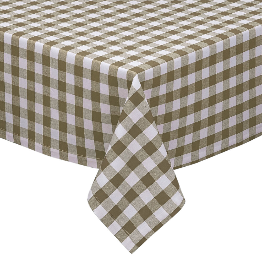 Taupe white cotton rich checkered kitchen tablecloth for White cotton table cloth