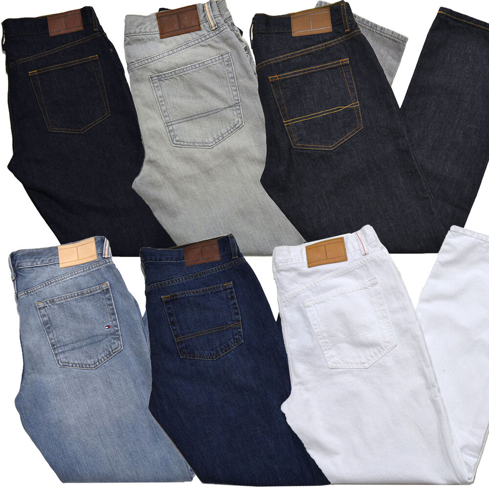 tommy hilfiger jeans mens straight leg classic fit denim zip fly stonewash logo ebay. Black Bedroom Furniture Sets. Home Design Ideas