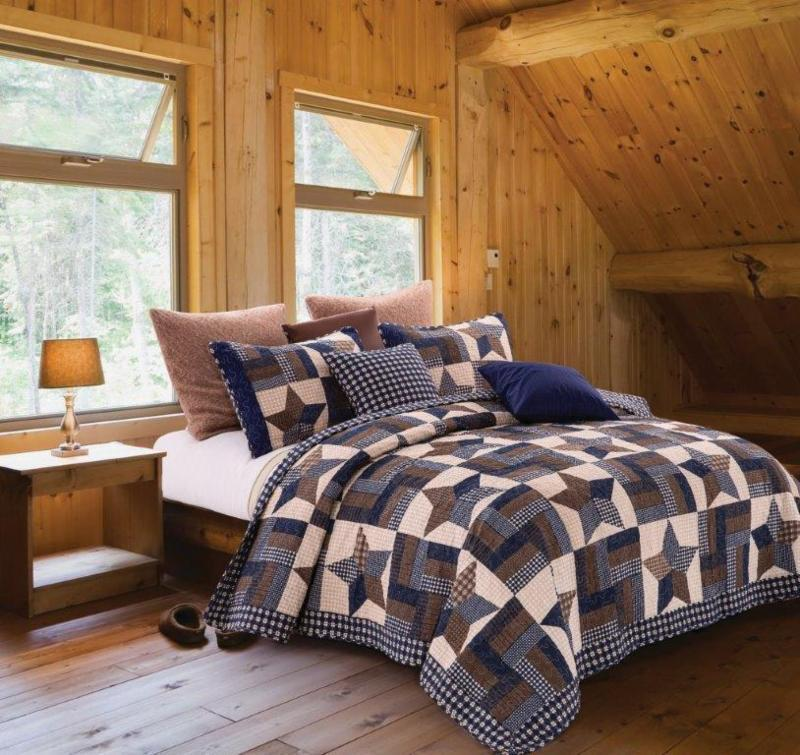 Navy Blue Woodland Star Patchwork Country Charm Quilt 3 Pc