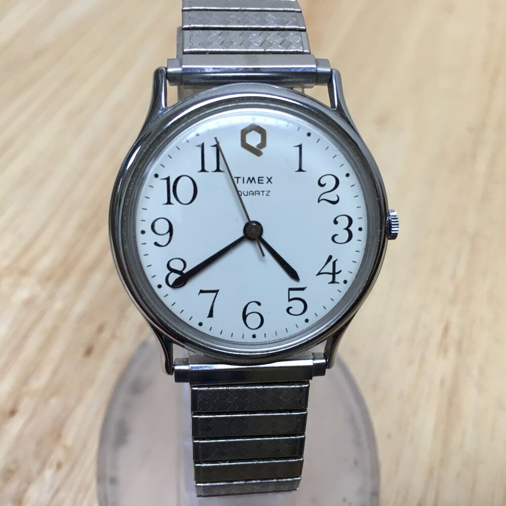 Vintage timex mens classic slim steel band analog quartz watch hours new battery ebay for Watches battery