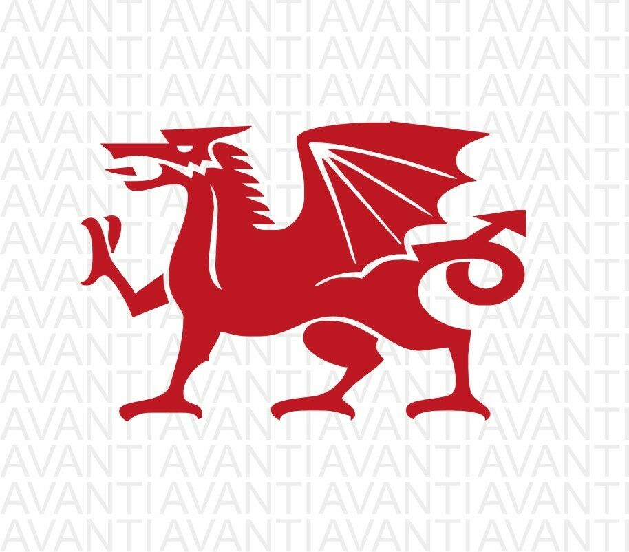 2 x welsh red dragon vinyl stickers window decorative decals cars van flag