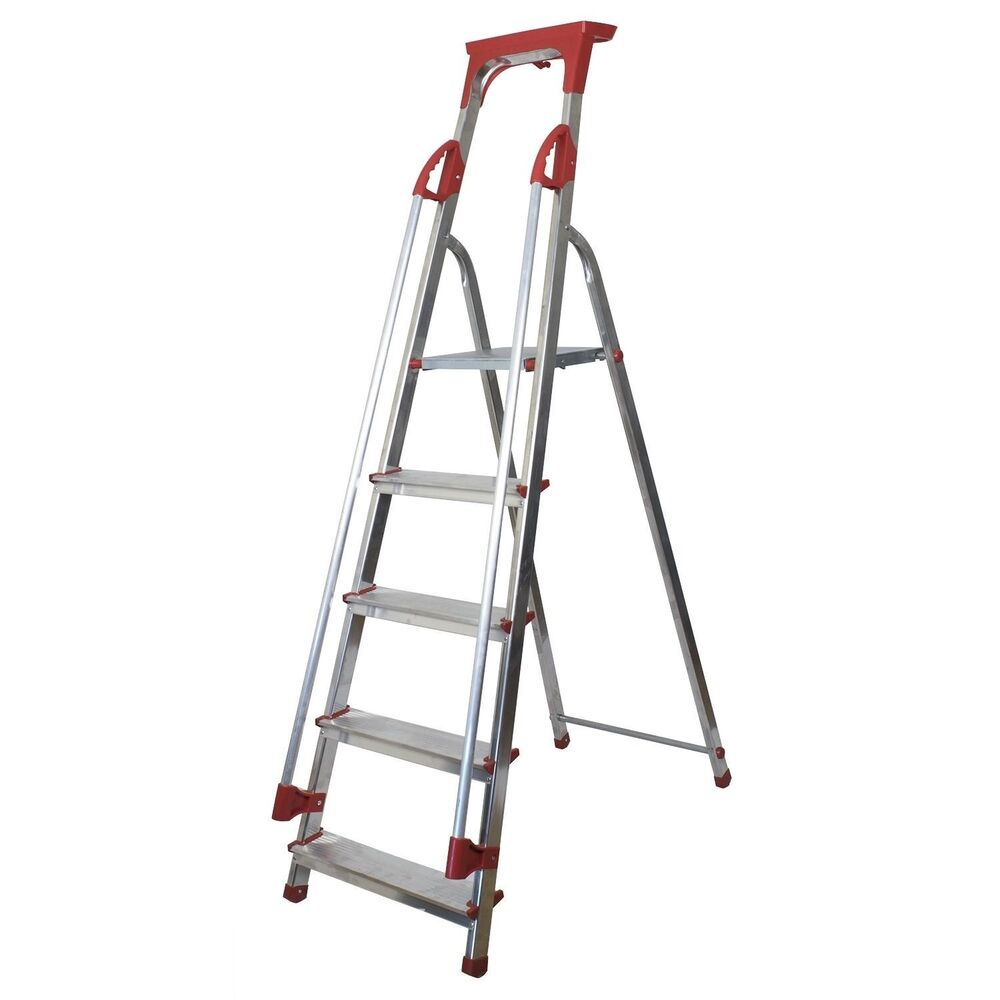 Abbey Aluminium Safety Platform Step Ladders With Handrail