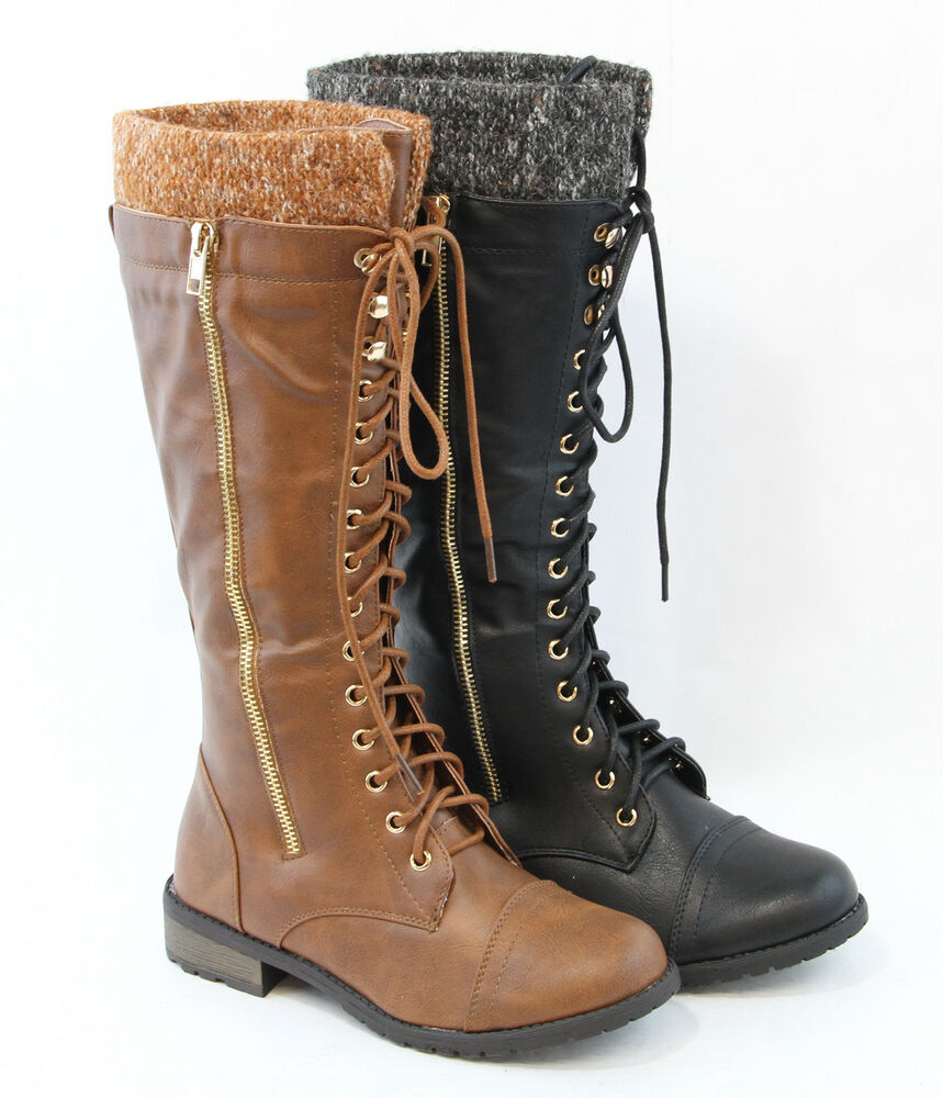 Cute Women Lace Up Sweater Cool Military Combat Style Boots Fashion Knee High Ebay